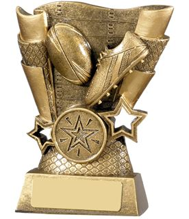 """Rugby Boot & Ball Scroll Trophy Antique Gold 13cm (5"""")"""