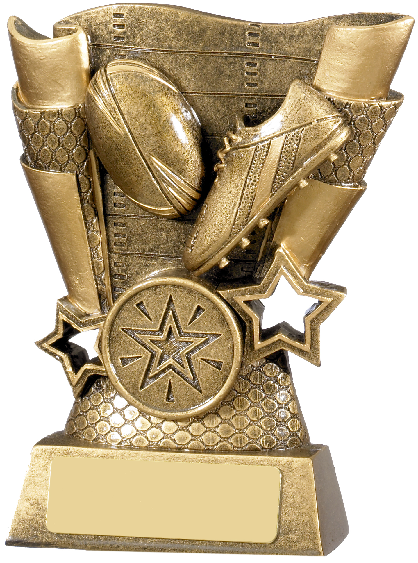 "Rugby Boot & Ball Scroll Trophy Antique Gold 13cm (5"")"