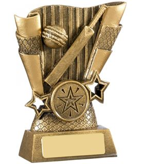 "Cricket Bat & Ball Scroll Trophy Antique Gold 11cm (4.25"")"