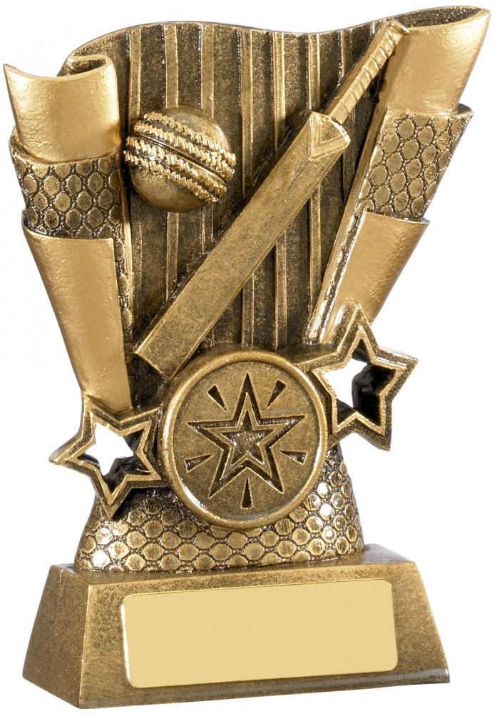 "Cricket Bat & Ball Scroll Trophy Antique Gold 13cm (5"")"