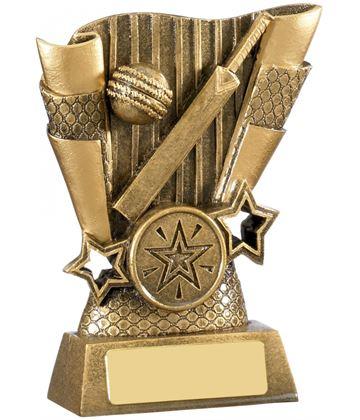 "Cricket Bat & Ball Scroll Trophy Antique Gold 11cm (4.25"")"