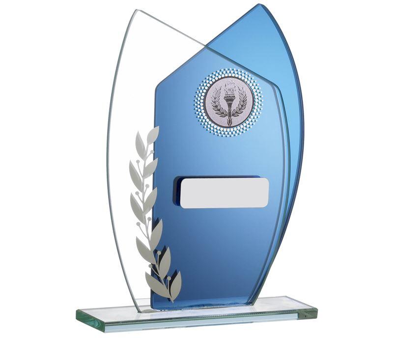 "Mirrored Blue Jade Glass Laurel Wreath Plaque Award 14.5cm (5.75"")"