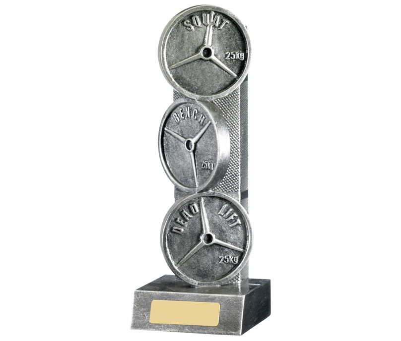 """Powerlifting Weights Trophy Silver 22.75cm (9"""")"""