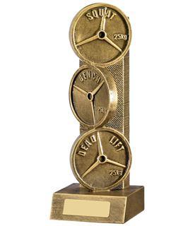 "Powerlifting Weights Trophy Bronze 22.75cm (9"")"