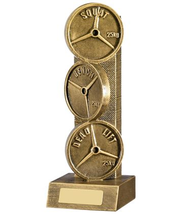 "Powerlifting Weights Trophy Bronze 22.75cm (9"")"