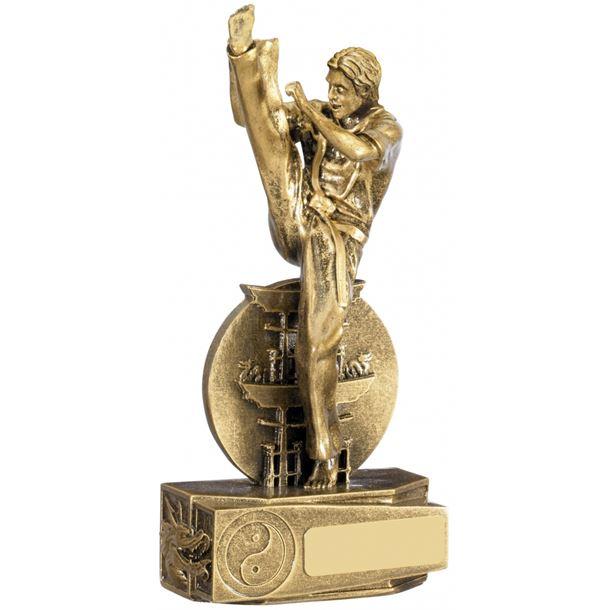 """Karate Male Action Figure Trophy Antique Gold 19.5cm (7.75"""")"""