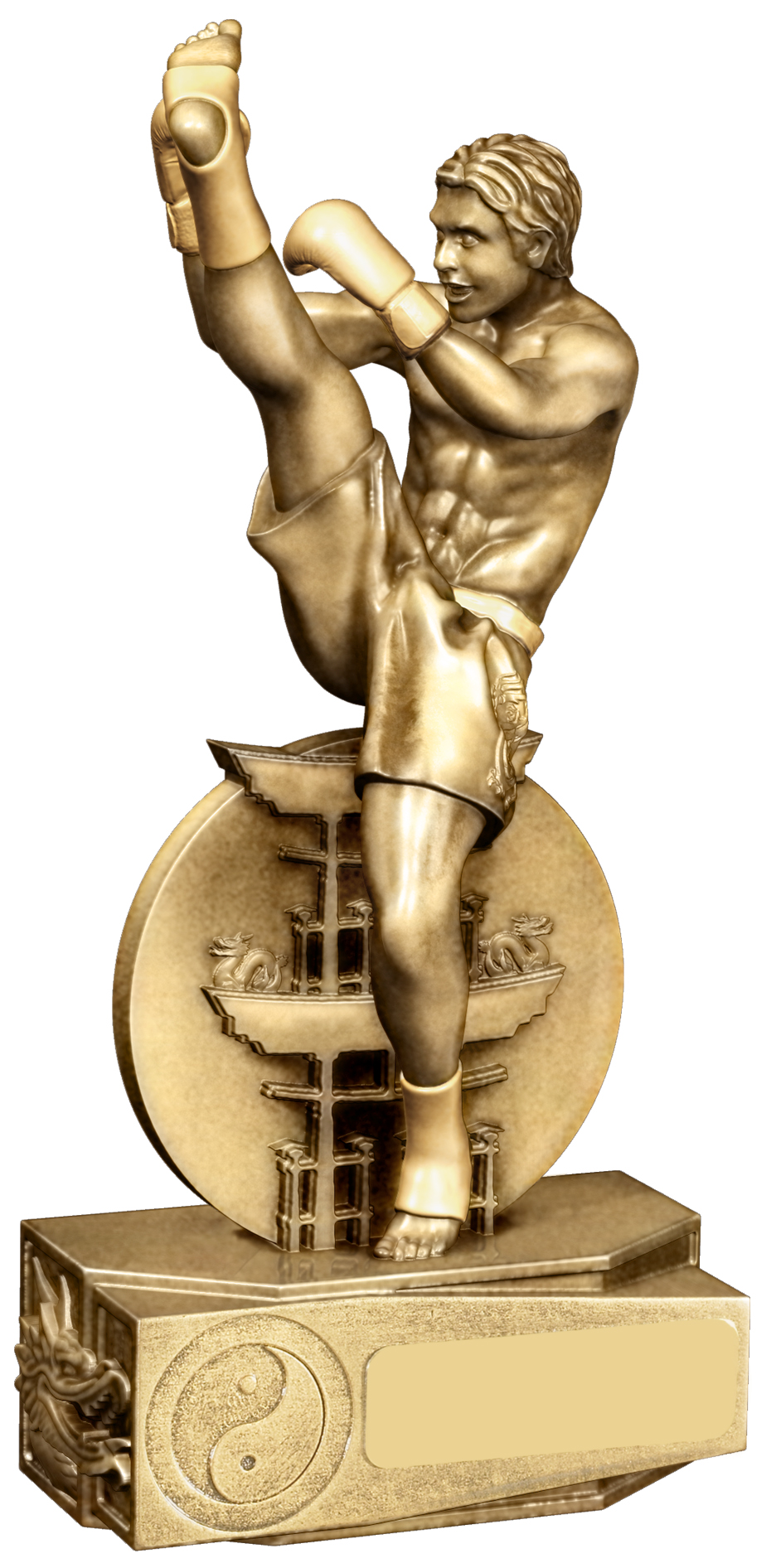 "Kickboxing Male Action Figure Trophy Gold 22cm (8.75"")"