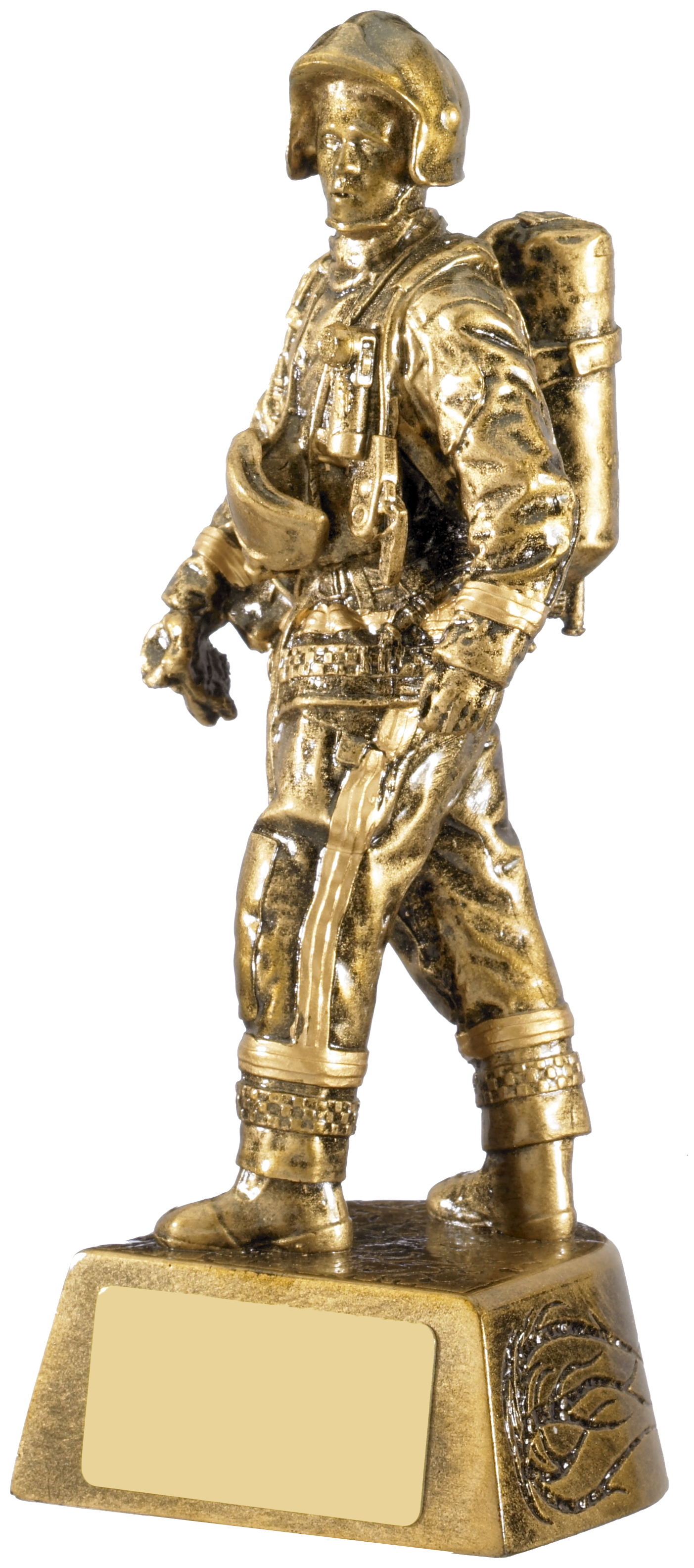 "Firefighter Figure Trophy Antique Gold 19.5cm (7.75"")"