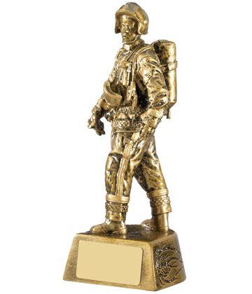 "Firefighter Figure Trophy Antique Gold 19.5cm (7.75"")"