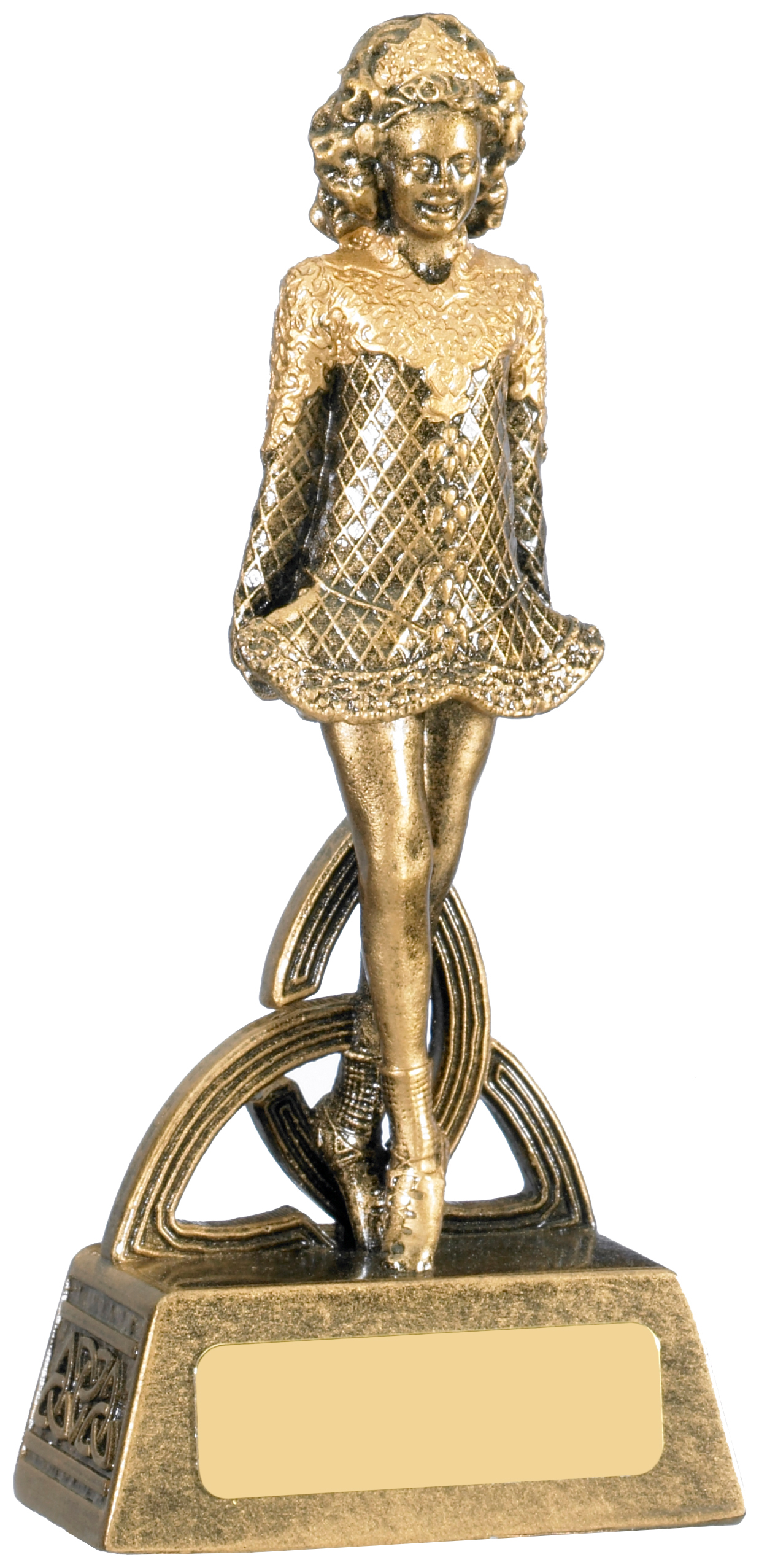 "Female Irish Dancer Trophy Antique Gold 18.5cm (7.25"")"
