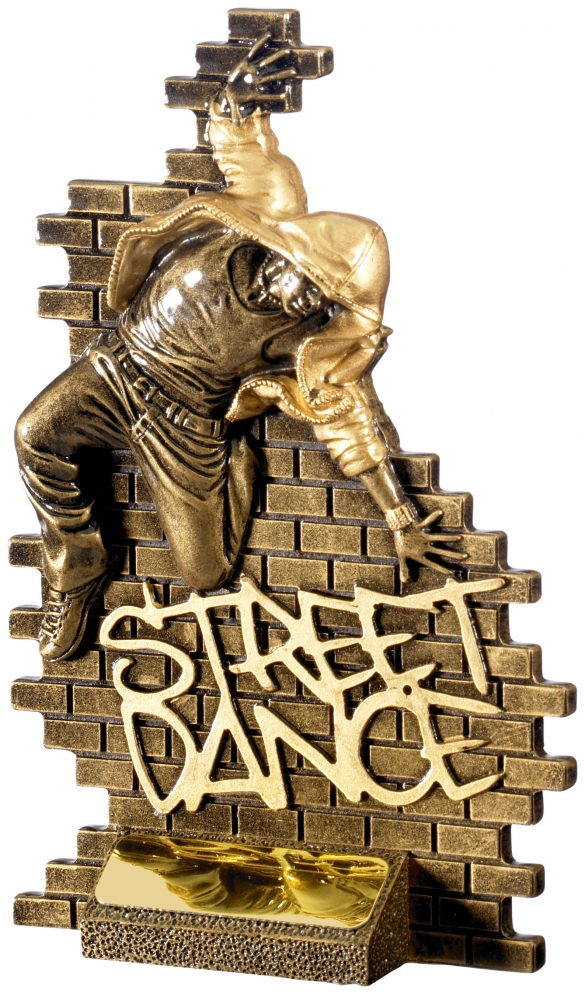 "Street Dance Male Action Trophy Antique Gold 18.5cm (7.25"")"