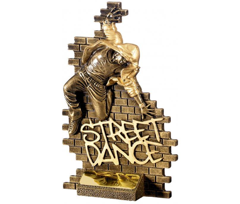 """Street Dance Male Action Trophy Antique Gold 18.5cm (7.25"""")"""