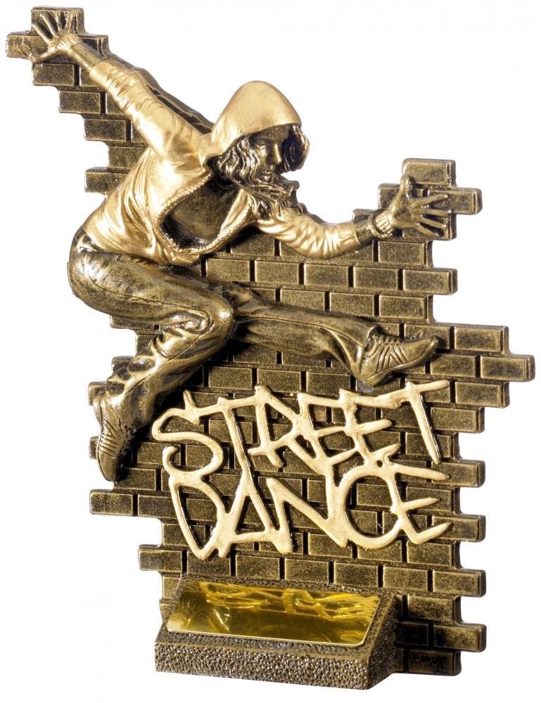 "Street Dance Female Action Trophy Antique Gold 18.5cm (7.25"")"