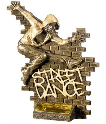 """Street Dance Female Action Trophy Antique Gold 18.5cm (7.25"""")"""