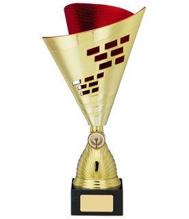 """Cone Trophy Cup Multi Award Gold & Red 28.5cm (11.25"""")"""