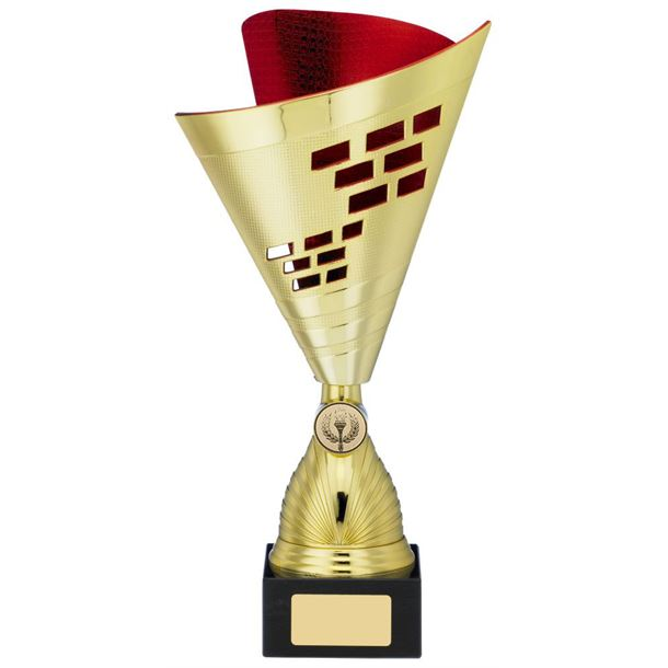 "Cone Trophy Cup Multi Award Gold & Red 32cm (12.5"")"