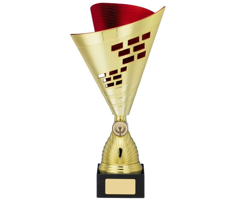 "Cone Trophy Cup Multi Award Gold & Red 30.5cm (12"")"