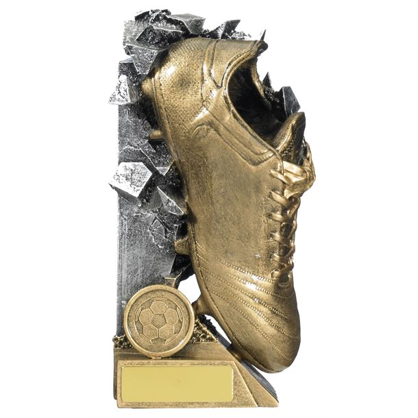 "Football Boot Breakout Trophy Gold & Silver 18cm (7"")"