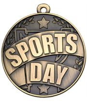 """Gold Sports Day Banner Medal 50mm (2"""")"""