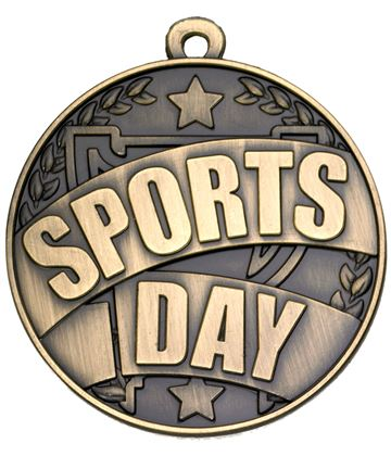 "Gold Sports Day Banner Medal 50mm (2"")"