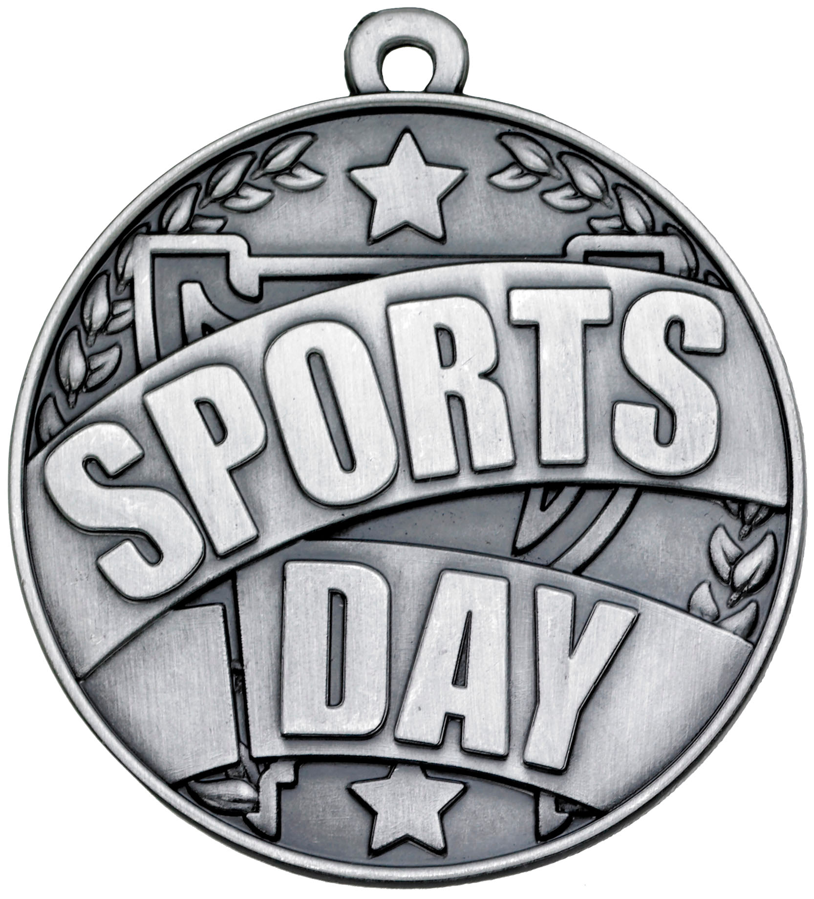 """Silver Sports Day Banner Medal 50mm (2"""")"""