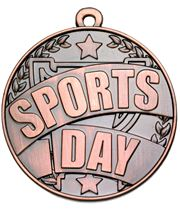"""Bronze Sports Day Banner Medal 50mm (2"""")"""