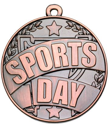 "Bronze Sports Day Banner Medal 50mm (2"")"