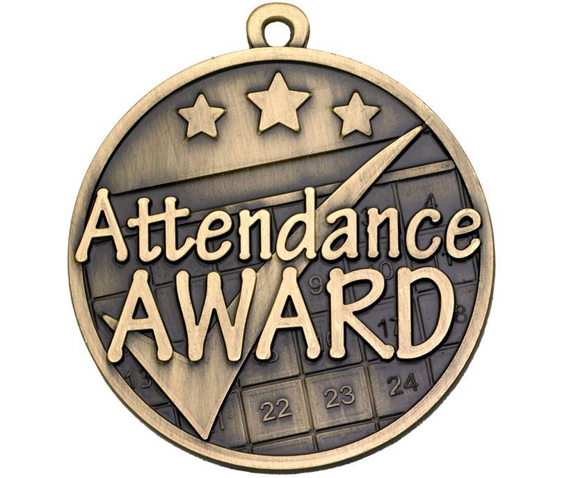 """Attendance Tick Award Gold Medal 50mm (2"""")"""