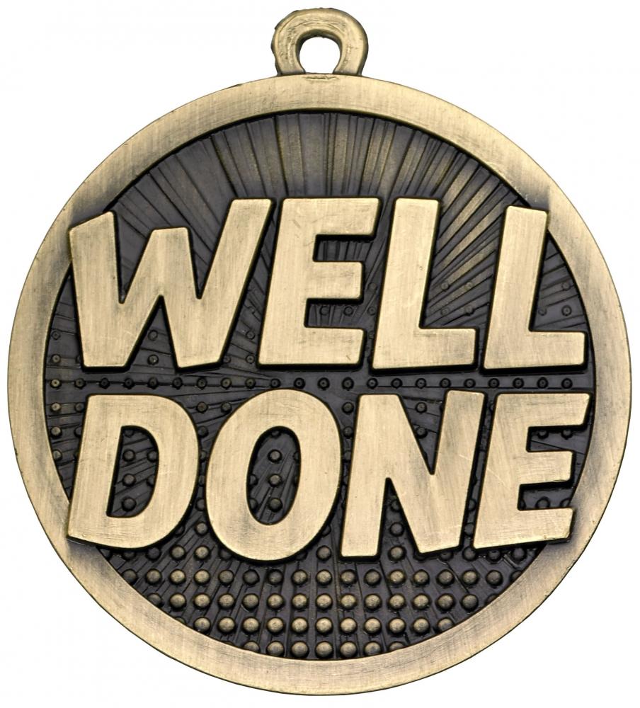 "Well Done Gold Burst Medal 50mm (2"")"