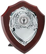 "Silver Presentation Shield on Wooden Plaque 10cm (4"")"