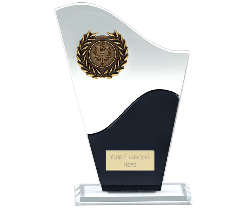 "Trek Clear & Black Glass Award 20.5cm (8"")"