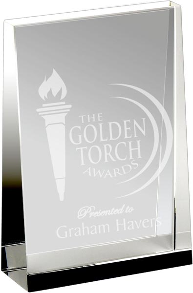 "Heavyweight Optical Crystal Guardian Wedge Plaque Award 8cm (3"")"