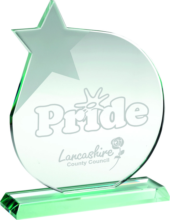 """Jade Glass Circle Plaque Award With Frosted Star 17cm (6.75"""")"""
