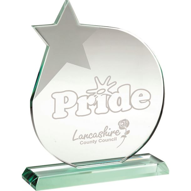 """Jade Glass Circle Plaque Award With Frosted Star 21cm (8.25"""")"""