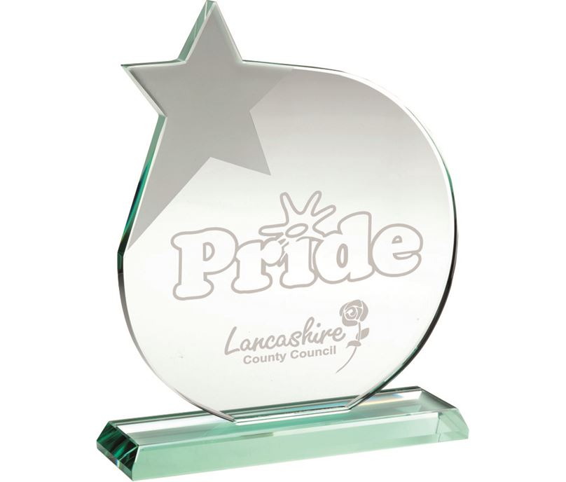 "Jade Glass Circle Plaque Award With Frosted Star 17cm (6.75"")"