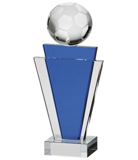 "Gauntlet Blue & Clear Glass Football Award 15.5cm (6"")"