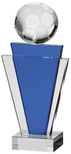"Gauntlet Blue & Clear Glass Football Award 15.5cm (6"")"
