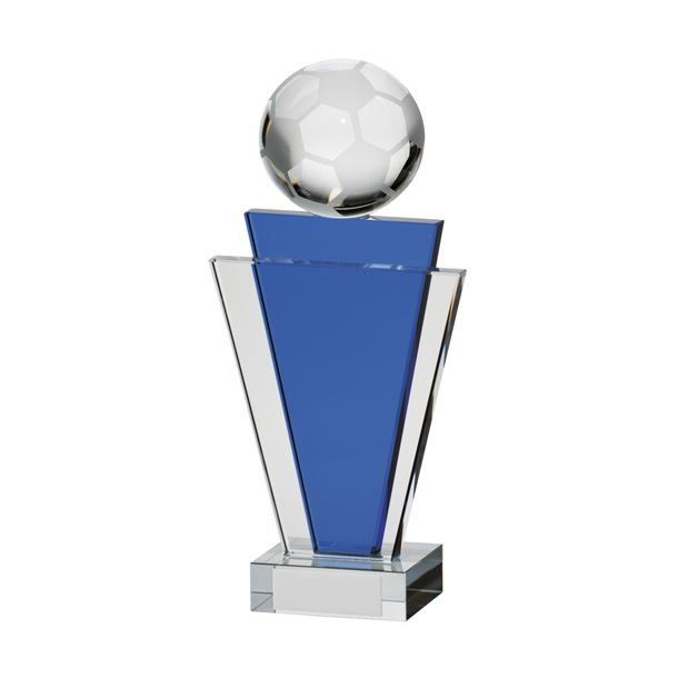 "Gauntlet Blue & Clear Glass Football Award 18cm (7"")"
