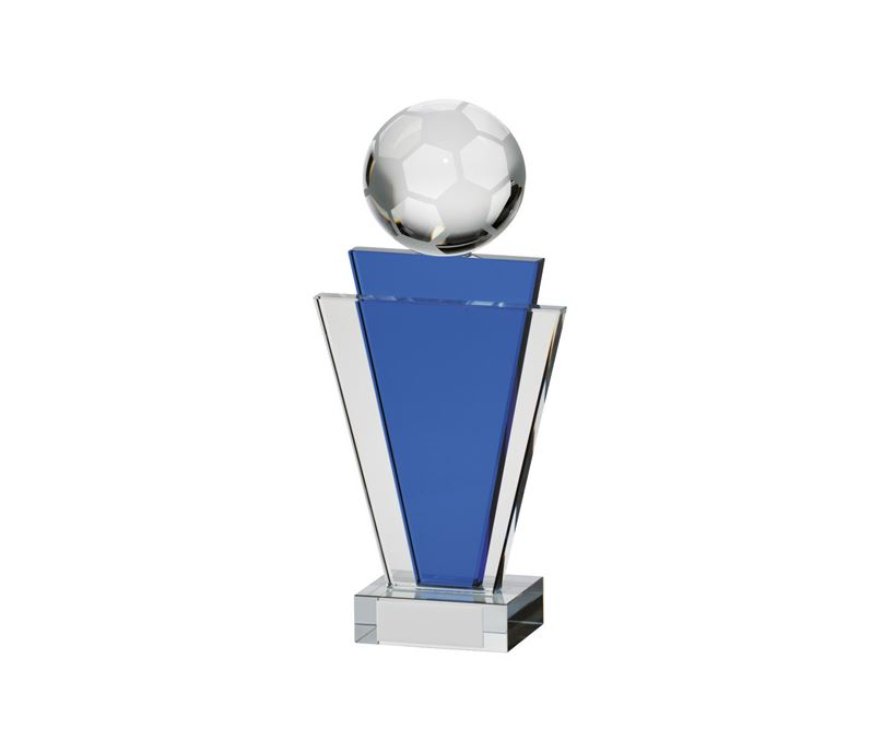 "Gauntlet Blue & Clear Glass Football Award 20cm (8"")"