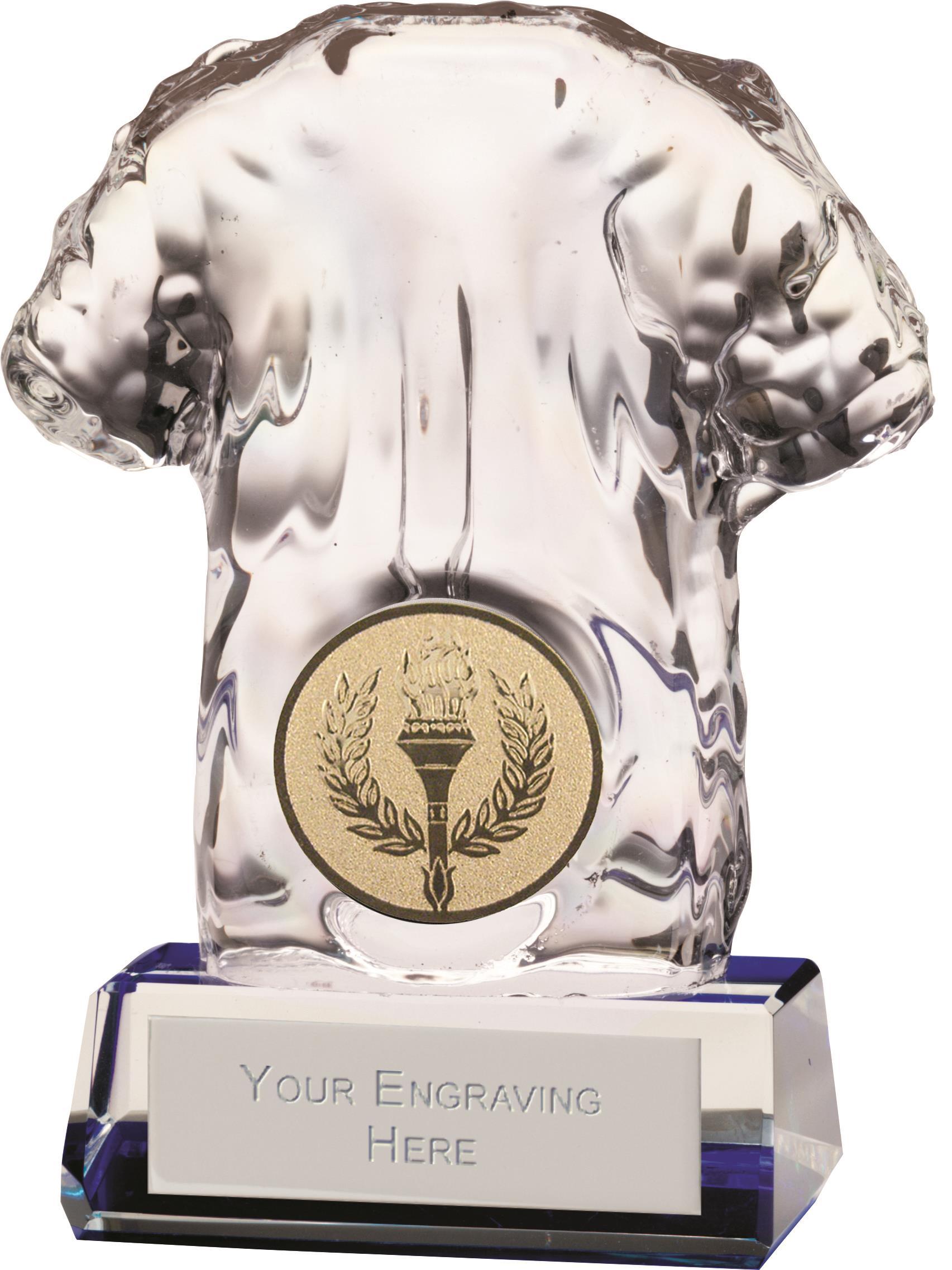 """Clear Icon Crystal Football Shirt Glass Award 9cm (3.5"""")"""
