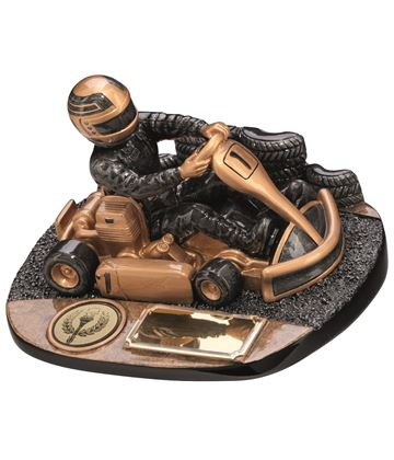 "Karting Rapid Force Trophy Antique Gold 9cm (3.5"")"