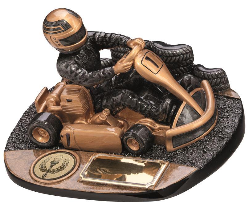 """Karting Rapid Force Trophy Antique Gold 9cm (3.5"""")"""