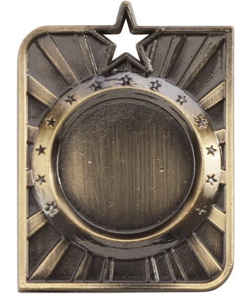 "Gold Centurion Star Multi Sport Square Medal 53mm x 40mm (2.25"" x 1.5"")"