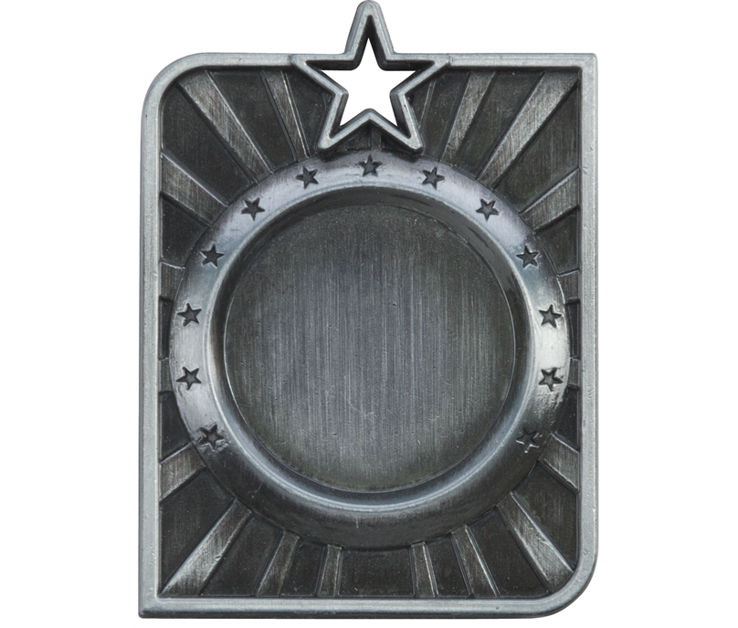 "Silver Centurion Star Multi Sport Square Medal 53mm x 40mm (2.25"" x 1.5"")"