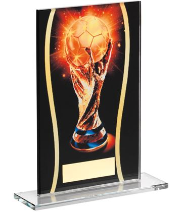 "Football Black & Gold World Football Printed Glass Plaque Award 16.5cm (6.5"")"