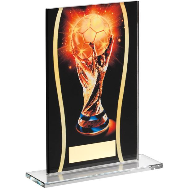 "Football Black & Gold World Football Printed Glass Plaque Award 16.5cm (6.5"")"