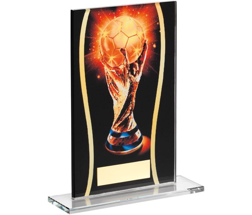 "Football Black & Gold World Football Printed Glass Plaque Award 18.5cm (7.25"")"
