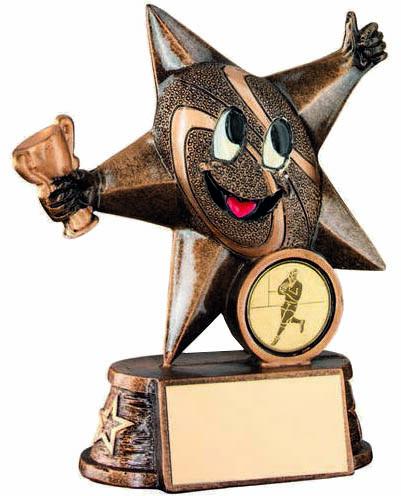 "Rugby Novelty Comic Star Trophy Antique Gold 11.5cm (4.5"")"