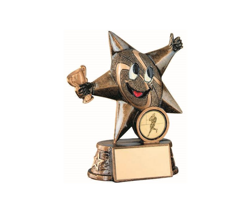 "Rugby Novelty Comic Star Trophy Antique Gold 12.5cm (5"")"