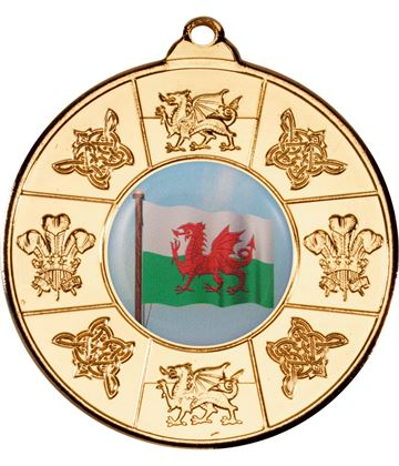 "Welsh Patterned Medal Gold 50mm (2"")"